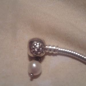 Pandora Rhinestone Dangle Pearl Charm Stopper